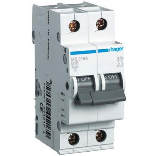 Автоматический выключатель 2п, 16А, C, 6kA, MC216A Hager