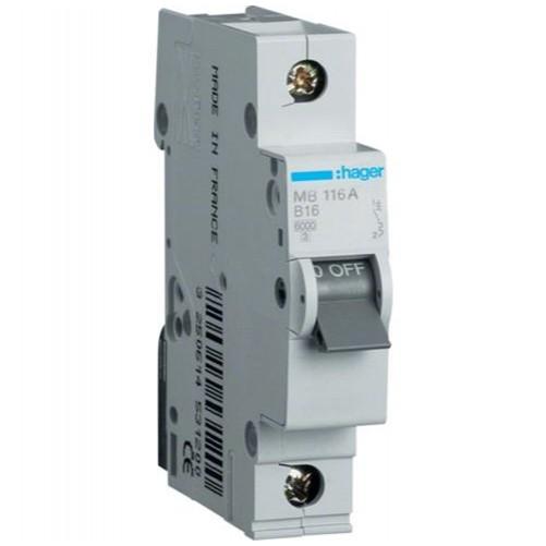 Автоматический выключатель 1п, 16А, C, 6kA, MC116A HAGER