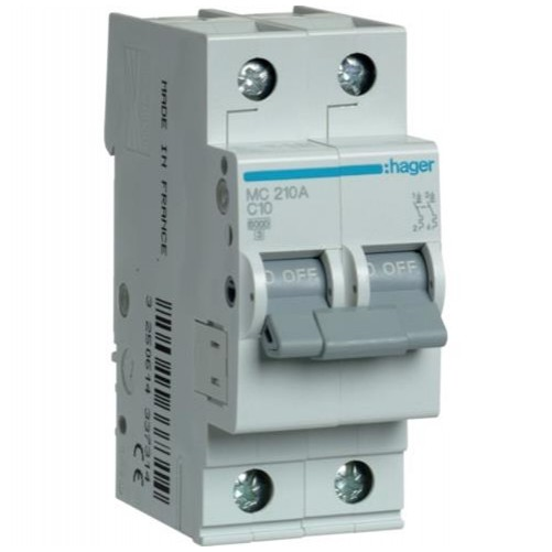 Автоматический выключатель 2п, 10А, C, 6kA, MC210A Hager