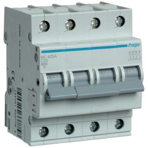 Автоматический выключатель 25A, 4п, C, 6kA, MC425A Hager